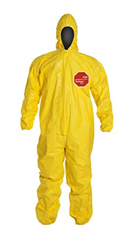 DuPont Tychem 2000 QC127T Chemical Resistant Coverall, Disposable, Hood, Elastic Wrists and Ankles, Storm Flap, Taped Seams (Pack of 4) by DuPont