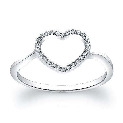 14k White Gold Diamond Heart Ring (1/10cttw, JK, I2-I3) Size 6.5