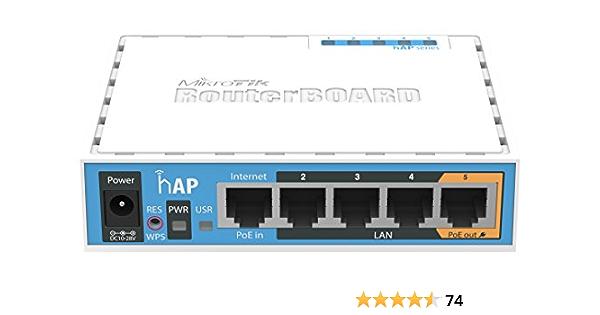 Mikrotik HAP Interna conexión Ethernet, energía sobre (PoE) Color Blanco Punto de Acceso WLAN – Puntos Punto de Acceso WLAN (10,100 Mbit/s, 64 MB, ...