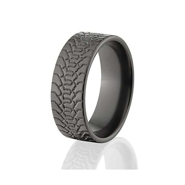 Black-Zirconium-Tire-Ring-Wedding-Band-Mud-Tread-Rings-USA-Made-Top-Quality-Product