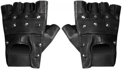NEUF noir motard cloutées en cuir synthétique Mitaines De Conduite Cyclisme Gym
