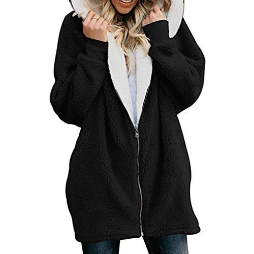 Amlaiworld Women Plus Size Plush Coat Solid Oversized Zip Down Hooded Coat Cardigans Outwear with Pocket Black