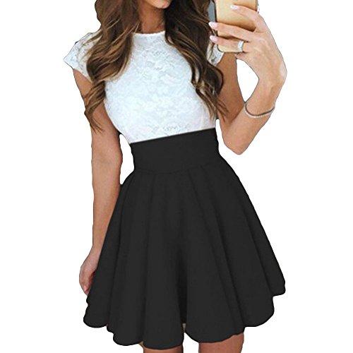 Hellomiko Mini robe lgante  manches courtes en dentelle patineuse pour les femmes Noir