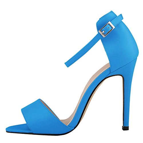 fereshte Ladies Womens Ankle Strap High Stiletto Heel Office Sandal Blue dBUiRmldqu