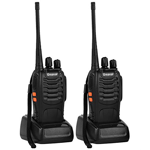 Greaval Walkie Talkie Rechargeable Long Distance Two Way Radio for Adults up to 3 Miles(5KM) 16 Channels with Earpieces/Headsets (2 Pack)