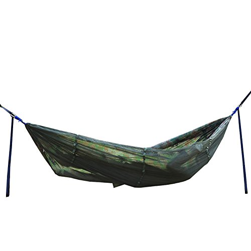 WEANAS Extra Single Camping Hammock with Mosquito Net, High Strength Parachute Pro Hammock with Zippered Bug Net Portable For Outdoor Camping Travel (Camo)