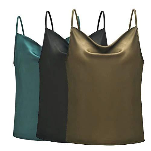 3PCS Women's Basic Spaghetti Strap Lace Trim Cami Tank Top Junior to Plus XXXL