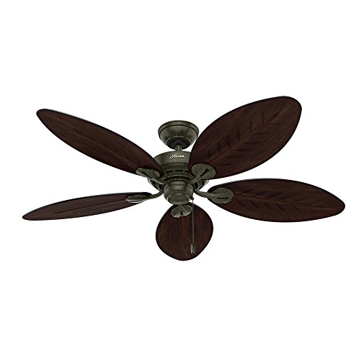 Hunter 54098 Bayview 54-inch ETL Damp Listed, Provencal Gold Ceiling Fan with Five Antique Dark Wicker/Antique Dark Palm Leaf Plastic Blades - Gold Finish Ceiling Fans
