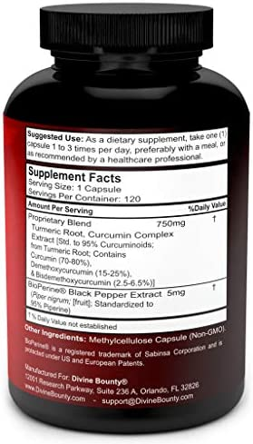 Turmeric Curcumin with BioPerine Black Pepper Extract – 750mg per Capsule, 120 Veg. Capsules – GMO Free Tumeric, Standardized to 95 Curcuminoids for Maximum Potency