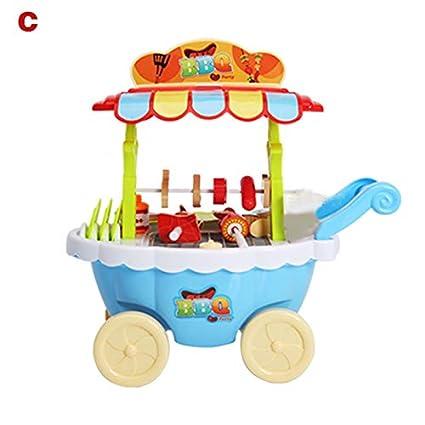 Dastrues Juego de rol de niños Juguetes Carro de Mini Dulces Iluminación Musical Tienda de Helados Barbacoa Carro de Juguete: Amazon.es: Hogar