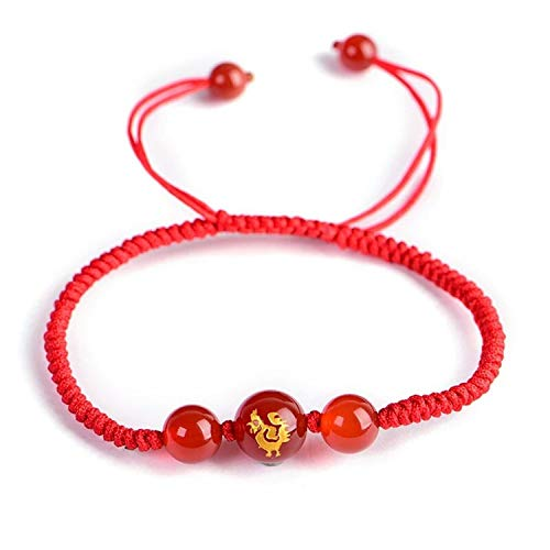 Beautiful:elegant Chinese Zodiac Animal Red Rope Lucky Bracelets Agates stone beads Couple's Charm Bracelet Hand weaved Women ()