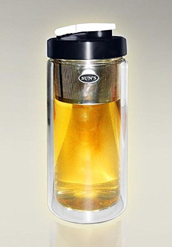Suns Tea 18oz Ultra Clear Spill-proof Strong Double-wall 3-Piece Borrosilicate Glass Tea Tumbler with Infuser(drink hole lid)