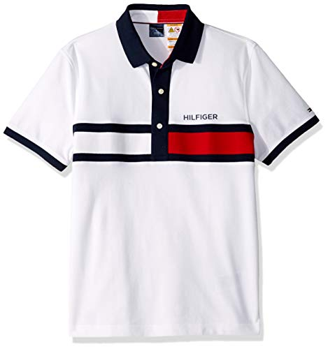 Custom Fit Stripe Polo - Tommy Hilfiger Men's Adaptive Polo Shirt with Magnetic Buttons Custom Fit, Tommy White Stripe, Medium