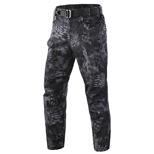 ShanMo Men's Tactical Pants Combat Camo Military Airsoft Army Quick Dry Trousers Casual Pants I7 (MFN) (Crepe Black, 38W/30L)