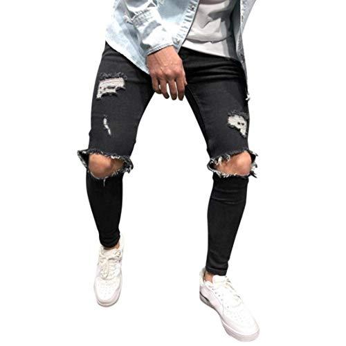 Da Hige Lavoro Sfilacciati Stabili Slim Skinny Taglie Attillati Fit Uomo Abiti Strappati Comode Stivaletti Pantaloni Tascabili Spiaggia Jeans Nero zCZRwxq