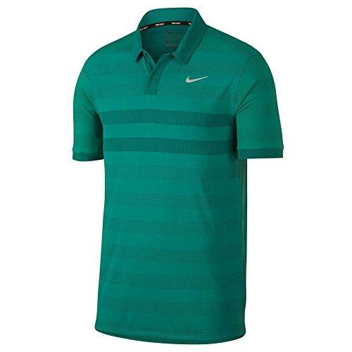- NIKE Zonal Cooling Stripe Golf Polo 2018 Neptune Green/Flat Silver Medium