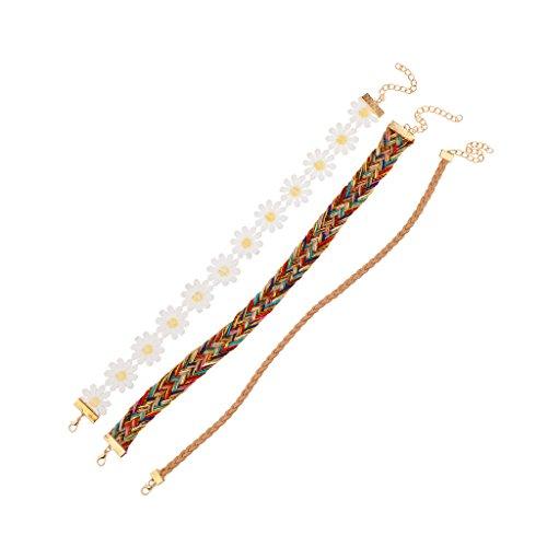 Lux Accessories Floral Sunflower Rainbow Woven Choker Necklace Set