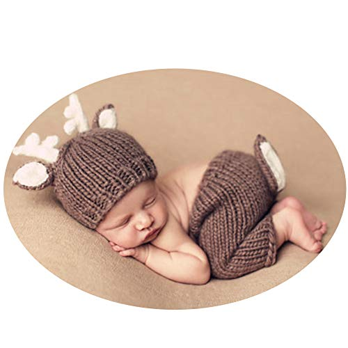 BINLUNNU Newborn Photography Outfits Baby Photography Props Infant Photo Shoot Costumes Adorable Christmas Deer Hat Pants for $<!--$12.88-->