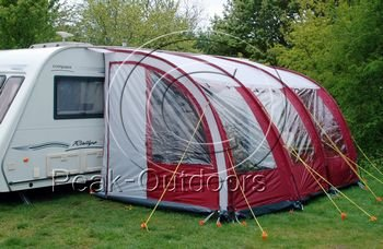 Pyramids Majestic Burgundy 390 Caravan Lightweight Porch Awning With Padded Rear Poles