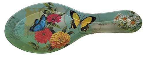 Melamine Spoon Rest New Butterfly Design 9 1/2 Inches ()