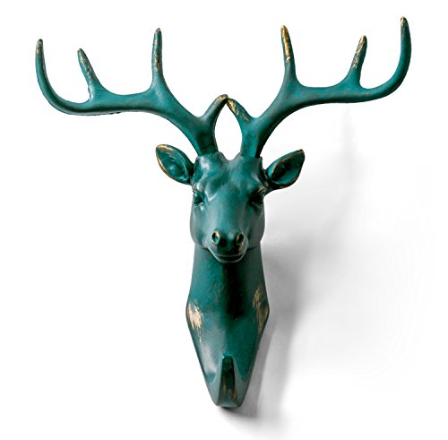 HERNGEE Deer Head Single Wall Hook/Hanger Animal Shaped Coat Hat Hook Heavy Duty, Rustic, Decorative Gift, Rustic Bronze Color ()