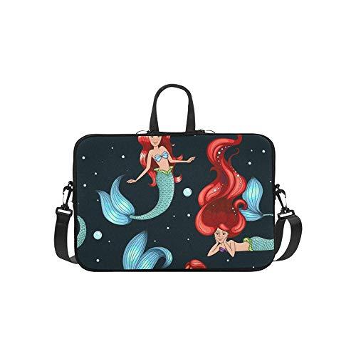 Black White Mermaids Briefcase Laptop Bag Messenger Shoulder Work Bag Crossbody Handbag for Business Travelling