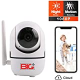 BIG+1080p Wireless Smart Home/Pet Camera with Night Vision, 2-Way Audio, Motion Detection, FHD, Indoor , Baby Monitor, 355-degree Wireless Pan/Tilt IP Camera
