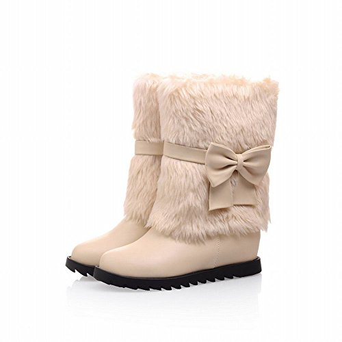 Cute Comfort Snow Bows Carol Shoes Boots Flat Adjustable Faux Sweet Women's Beige Fashion Fur Casual Winter wOqwY8B