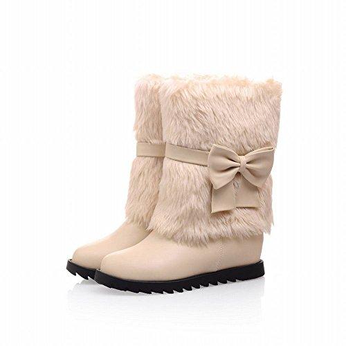 Lucksander Donna Inverno Dolce Stile Eco-pelliccia Fiocchi Regolabili Casuali Stivali Da Neve Comfort Piatto Beige