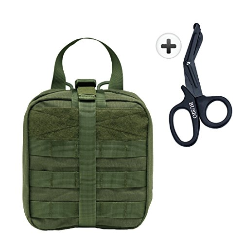 BUSIO Tactical MOLLE EMT Medical Pouch-IFAK Rip-Away Emergency Survival Gear Kit-Bag First Aid Package with Patch+Stainless Steel Trauma Scissors Shears (ARMY GREEN) -