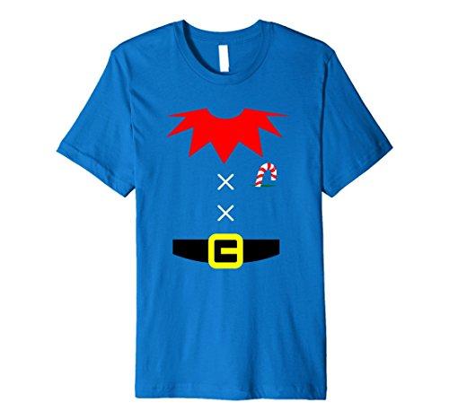 Blue Striped Shirt Costume (Mens ELF COSTUME Christmas Shirt | Xmas Santa Helper T-Shirt Medium Royal Blue)