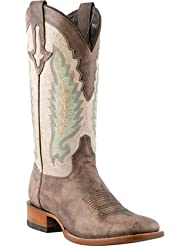 Lucchese Mens 1883 Horseman El Campo Burnished Calf Cowboy Boot Square Toe Cafe US