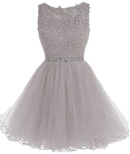 (Short Lace Beaded Homecoming Dresses Sequined Appliques Cocktail Prom Gowns Light Grey,2)
