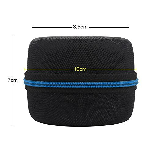 Echo Dot Case, Portable Carrying Travel Bag Protective Hard Case Cover for use with Amazon Echo Dot (2nd Generation) with Carabiner (Fits USB Cable and Wall Charger), Nylon-Black (Blue Zipper)