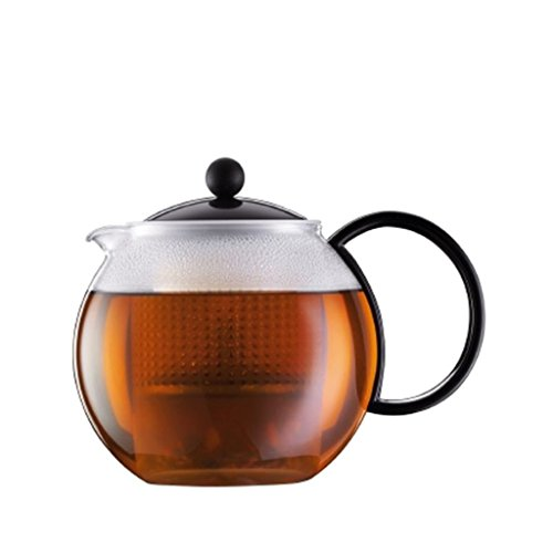 Bodum Assam Medium Tea Press with Plastic Filter, Black, 1.0