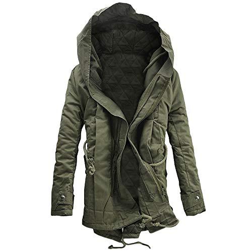 230de2000 Green Green Green DaySeventh Men Winter Warm Hooded Zip Thick Solid ...