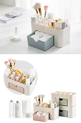 Home Storage Convenient Saving Space Desktop Cosmetics Jewelry Makeup Storage Drawer Type Organizer Box (Blue)