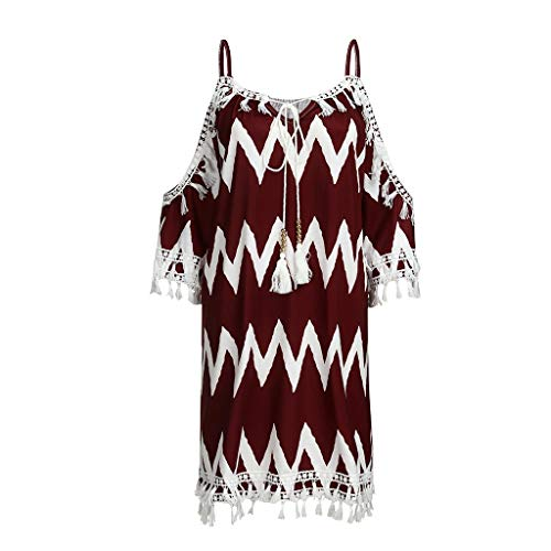 Tantisy ♣↭♣ Women's Fashion Tassel Slash Neck Off Shoulder Sling Dress Summer Loose Cocktail Party Beach Sundress