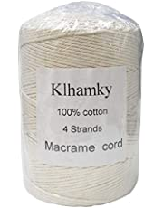 Klhamky 3mm×546yd Macrame Cotton Cord, Soft 100% Natural Cotton for Handmade Wall Hanging, DIY, Craft Making, Knitting, Plant Hangers, Wedding Décor, Decorative Projects (Beige, 3mm×1640ft)