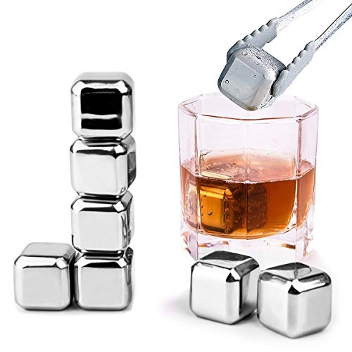 Whiskey Stones - Set of 8 with Tongs, Plastic Storage Box , Reusable Stainless Steel Ice Cubes for Wine , Beer - Whiskey Chilling Rocks Mokadii -
