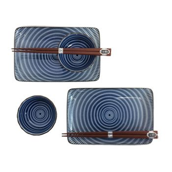 Sendan Colors Navy Blue Sushi For Two Set (Japanese Stoneware)