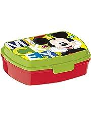 ALMACENESADAN 2047 Sandwichera Restangular Multicolor Disney Mickey Mouse Watercolors; Producto de plástico; Libre BPA; Dimensiones Interiores 16,5x11,5x5,5 cm