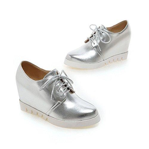 VogueZone009 Damen Rein Weiches Material Hoher Absatz Schnüren Pumps Schuhe Silber
