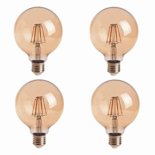 HERO-LED G30-DSGT-4W-WW22 Dimmable Gold Tint G30 E26/E27 4W Edison Style LED Vintage Antique Filament Bulb, 40W Equivalent, Ultra Warm White 2200K (Amber Glow), 4-Pack