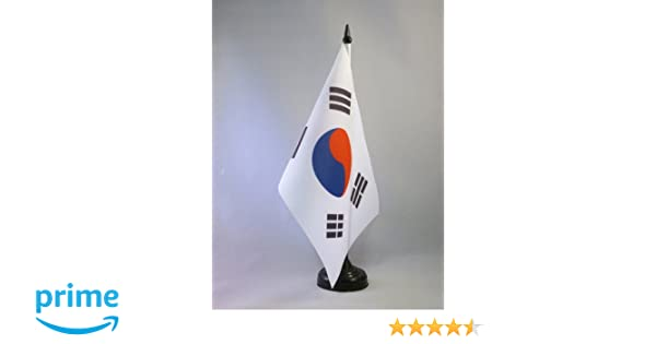 """South Korea Miniature Fabric Hand Held Table Top Desk Flag Polyester 4/"""" x 6/"""""""