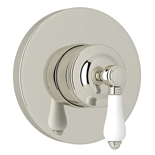 Rohl A2700NLPPNTO Kit Trim Package for Country Bath Four Port Three Direction Diverter Trim Only New Style with Porcelain Lever and Sleeve, Polished Nickel