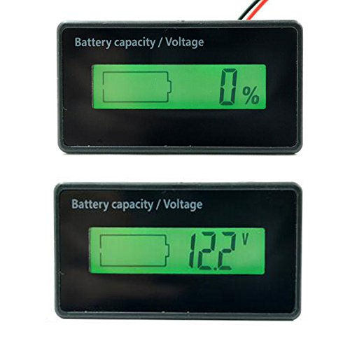 Pevor LCD Digital DC 6-63V Lithium Battery Capacity Tester Indicator 12V/24V/36V/48V LCD Digital Battery Capacity Monitor Panel Gauge Green Backlit