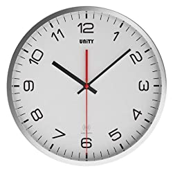 Unity Arabic Stainless Steel Silent Sweep Non-Ticking Wall Clock, 12-Inch, White