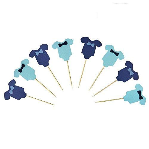 (PROPARTY Blue Baby Jumpsuits Baby Shower Cake Cupcake Toppers Picks for Birthday Boys Party Decorations 24)