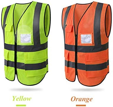HYCOPROT Hi Vis Viz High Visibility Reflective Safety Vest Mesh Waistcoat Jacket Workwear Executive Manager Zip 2 Band Brace Security Mobile Phone Pocket ID Holder L, Blue-mesh